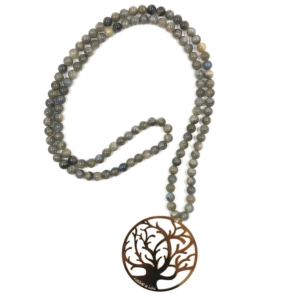 Grey semi-precious stone necklace with Tree of Life pendant - TheShopster