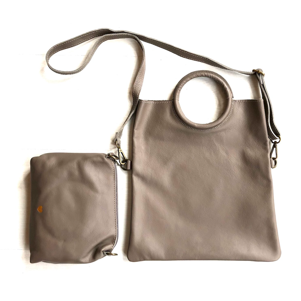 Taupe foldable leather bag - TheShopster