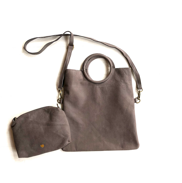Grey nubuck foldable bag - TheShopster