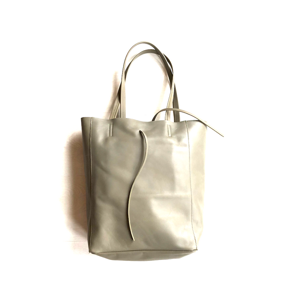 Grey leather tote bag - TheShopster