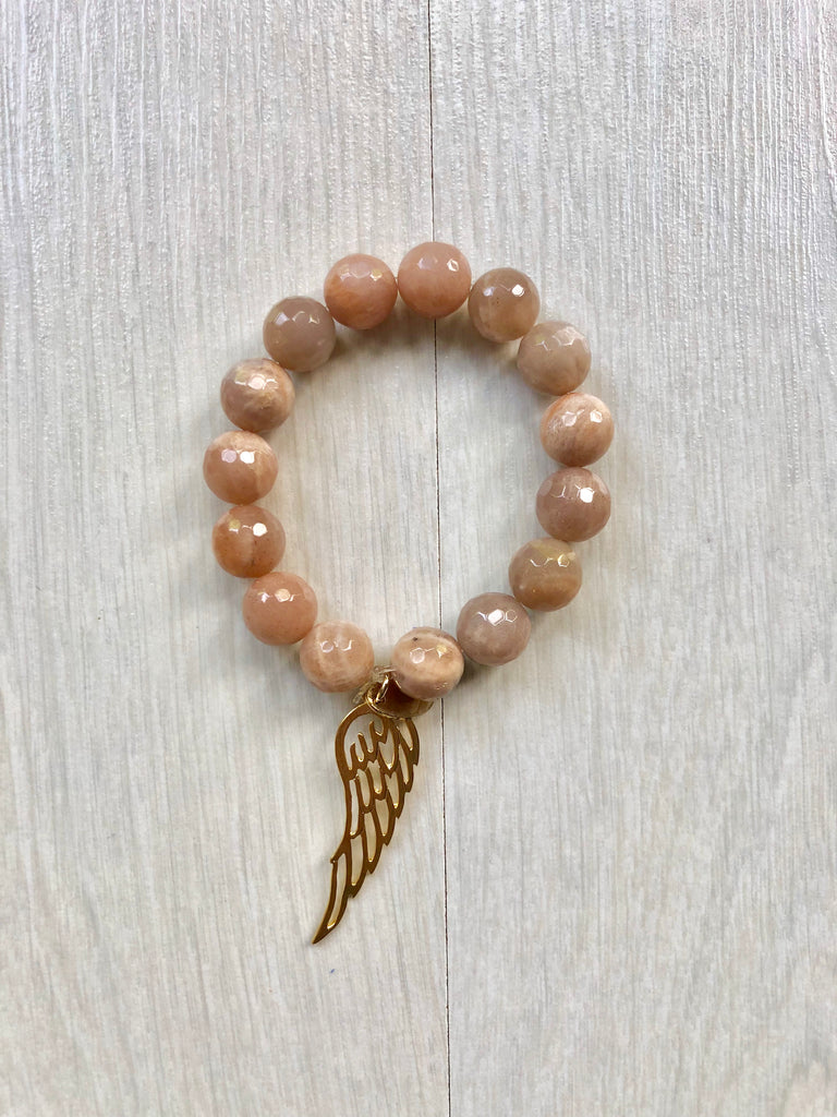 WING light pink SEMI-PRECIOUS STONE BRACELET - TheShopster