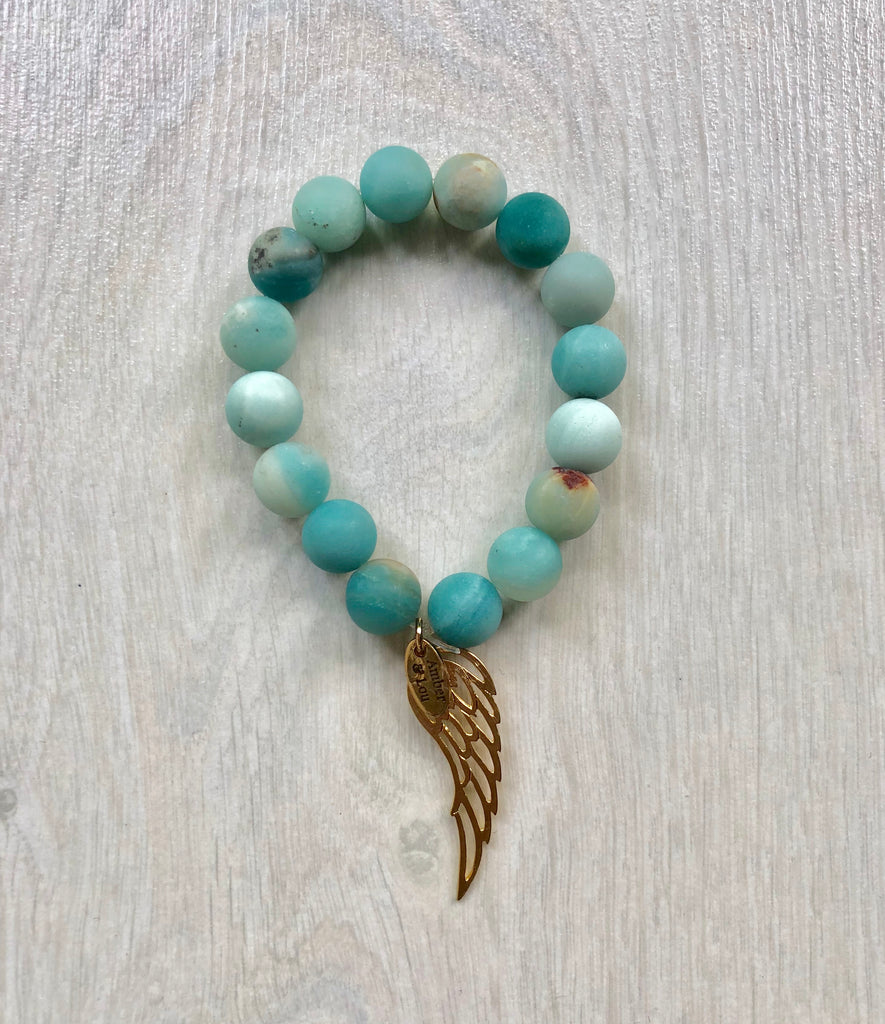 Wing turquoise (mat) semi-precious stone bracelet - TheShopster