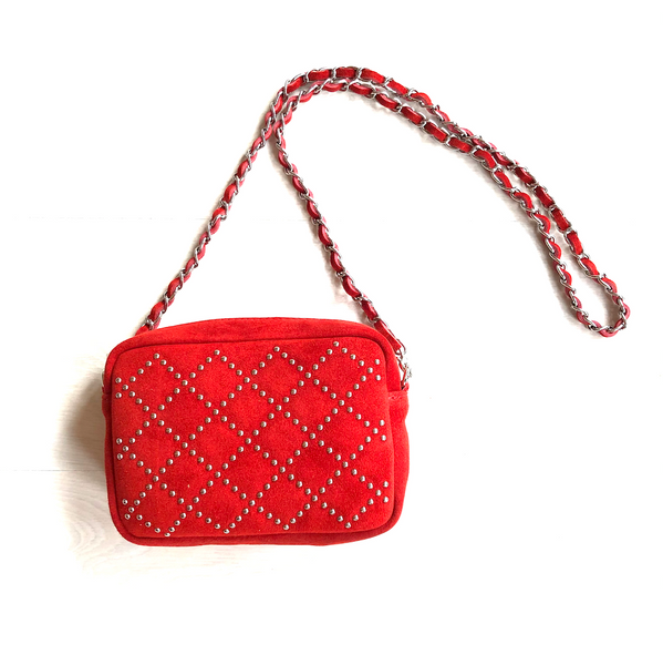 Red studs shoulder bag - TheShopster