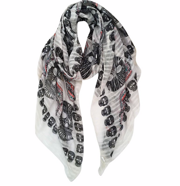 Black & white skull scarf - TheShopster