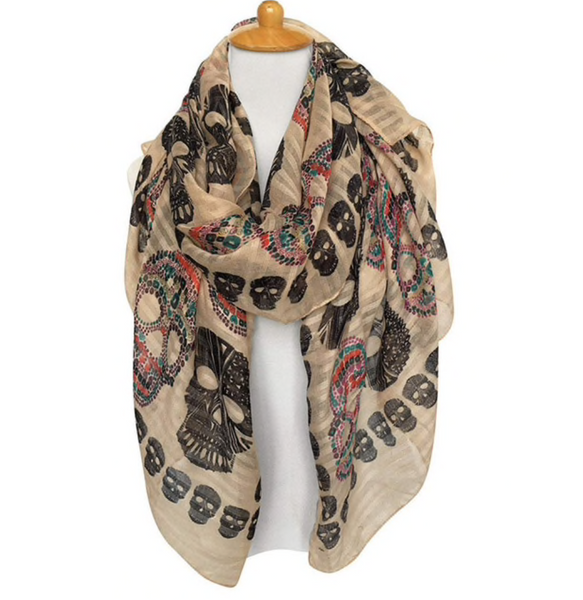 Beige skull scarf - TheShopster