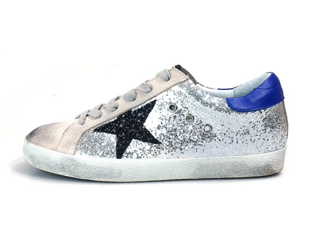 Glitter stars sneakers (grey or green) - TheShopster