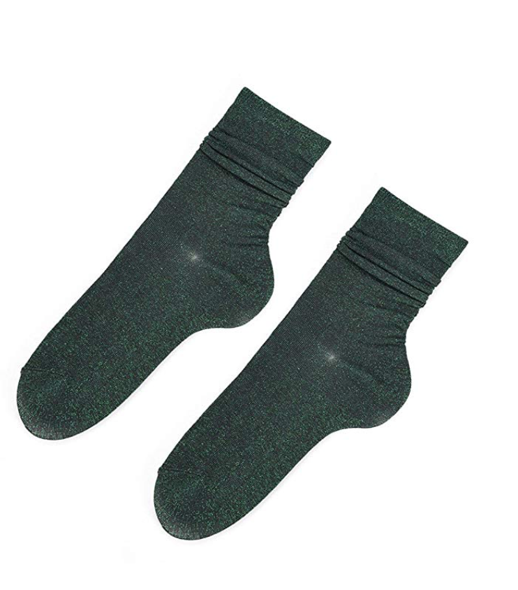 Glitter dark green socks - TheShopster
