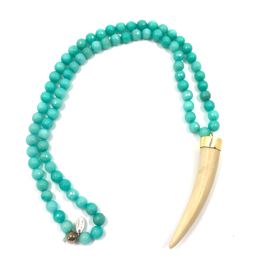 Natural turquoise beads with horn - TheShopster