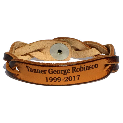 Memorial Leather Bracelet with Name and Dates - Love Chirp Gifts