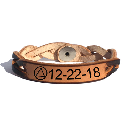 Alcoholics Anonymous Sobriety Date Bracelet