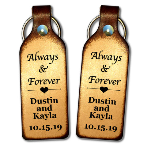 Always and Forever with Your Names and Date Leather Keychain - Love Chirp Gifts
