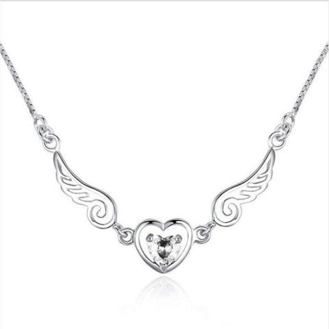 Angel Wings with Heart Stone Necklace - Love Chirp Gifts