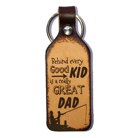 Great Dad Leather Engraved Keychain