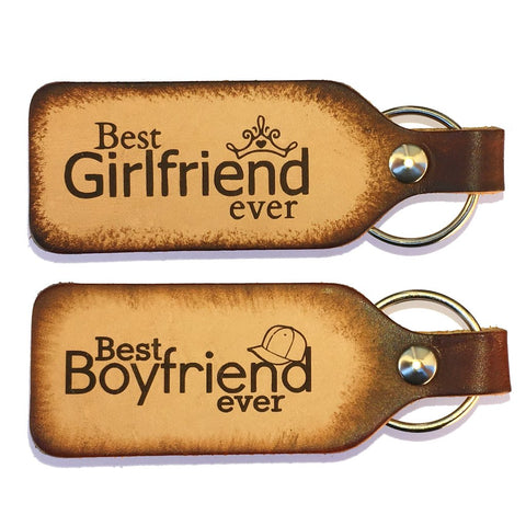 Best Boyfriend Ever Best Girlfriend Ever Leather Keychain Set - Love Chirp Gifts