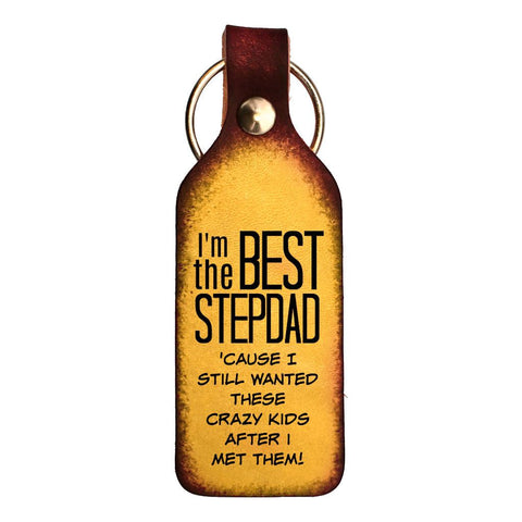 Best Stepdad Leather Engraved Keychain