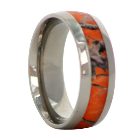 Blaze Orange Camouflage Titanium Ring