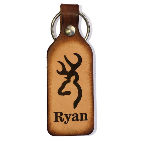 Buck Symbol with Name Leather Keychain