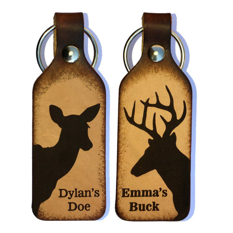 Buck &  Doe Silhouette with Your Names Couples Leather Keychains (Pair)