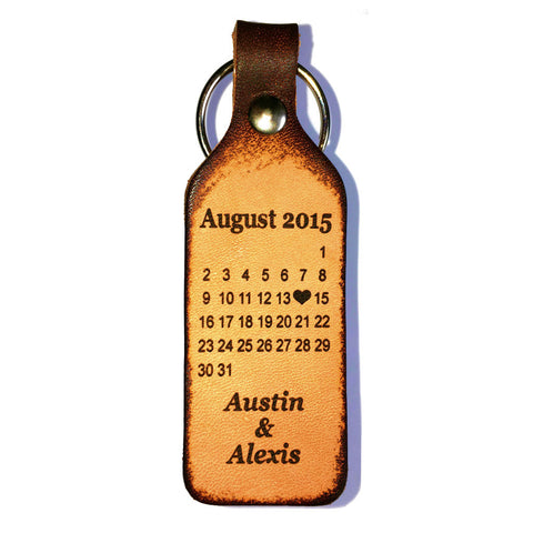 Special Date Calendar Personalized Keychain