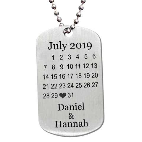 Celebrate Your Special Date Stainless Steel Dog Tag Necklace - Love Chirp Gifts