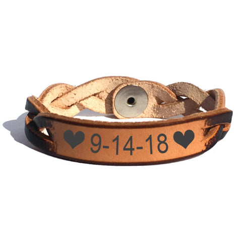 Celebrate the Date Leather Bracelet - Love Chirp Gifts