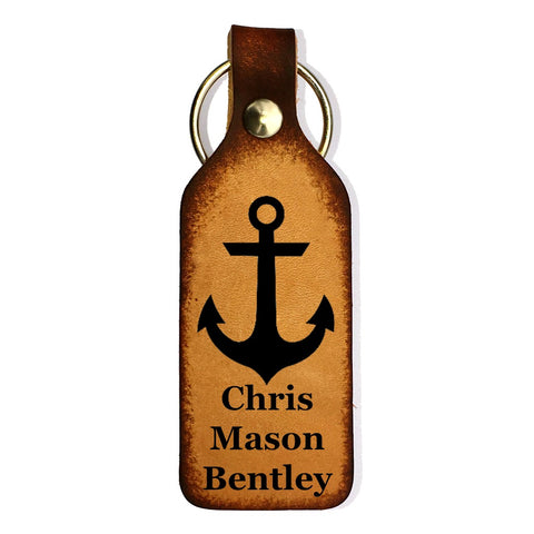 Anchor Engraved with Name Leather Keychain - Love Chirp Gifts