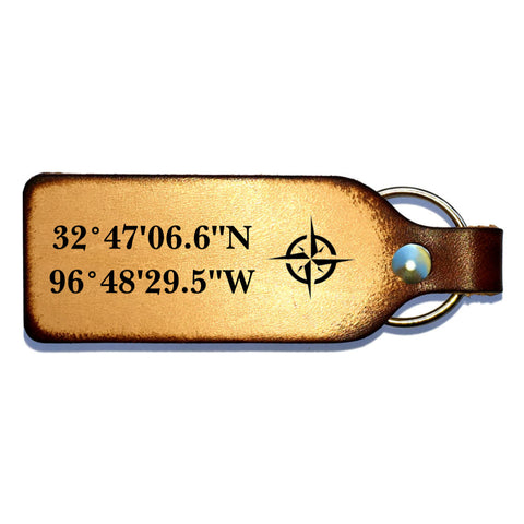 Custom Coordinates Leather Keychain - Love Chirp Gifts