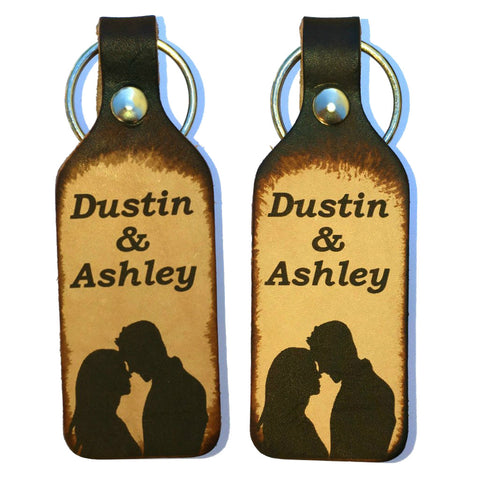 Couples Leather Keychains with Free Customization (Pair) - Love Chirp Gifts