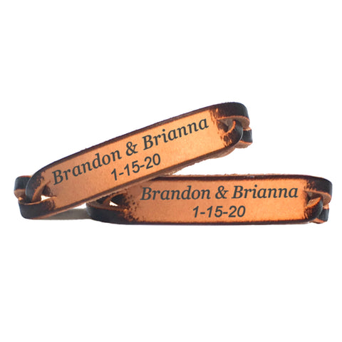 Couples Name and Date Leather Bracelet - Love Chirp Gifts