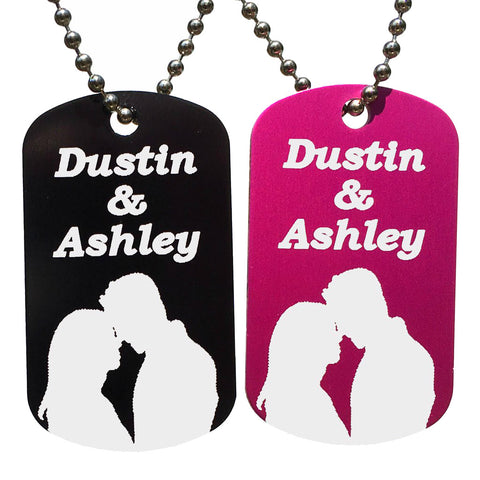 Couples Dog Tag Necklaces with Free Customization (Pair) - Love Chirp Gifts