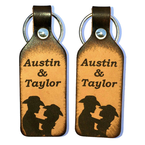 Cowboy & Cowgirl Leather Couples Keychains with Free Customization - Love Chirp Gifts