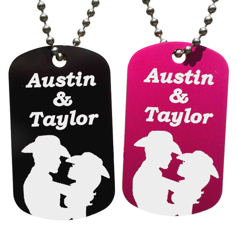 Cowboy & Cowgirl Dog Tag Necklaces with Free Customization (Pair) - Love Chirp Gifts
