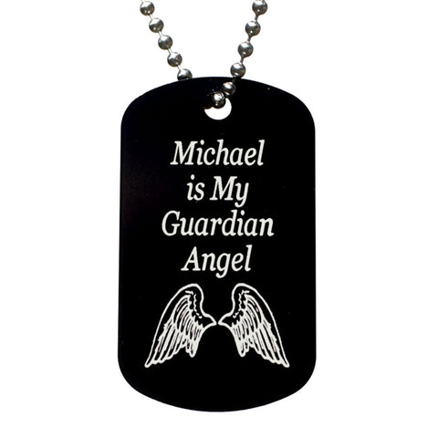 My Guardian Angel Personalized with Name Dog Tag Necklace