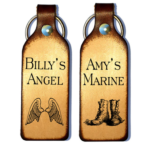 Marine & Angel Personalized Couples Leather Keychains - Love Chirp Gifts