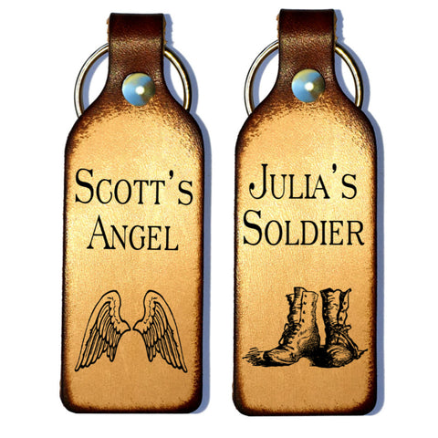 Soldier & Angel Personalized Couples Leather Keychains - Love Chirp Gifts