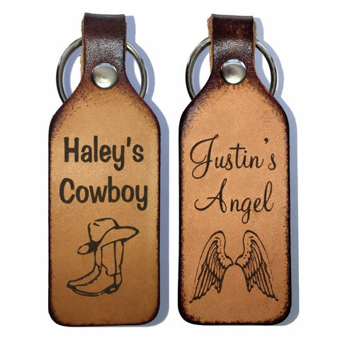 Cowboy & Angel Leather Couples Keychains with Free Customization
