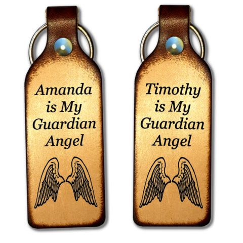 My Guardian Angel Leather Keychain with Free Customization - Love Chirp Gifts