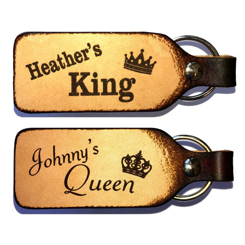 King & Queen Leather Couples Keychains with Free Customization