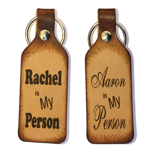 My Person with Custom Names Leather Keychains (Pair) - Love Chirp Gifts