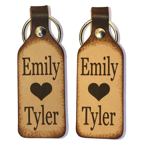 Heart with Names Leather Keychains with Free Customization (Pair) - Love Chirp Gifts