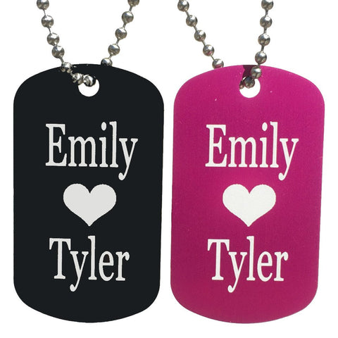 Heart with Names Dog Tag Necklaces (Pair) - Love Chirp Gifts