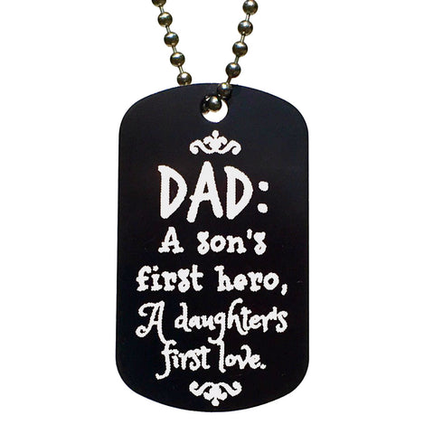 Dad is Son's Hero & Daughter's Love Dog Tag Necklace - Love Chirp Gifts