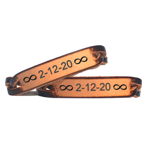 Custom Date with Infinity Signs Leather Bracelet - Love Chirp Gifts