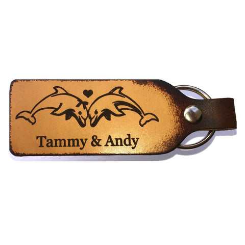 Personalized Dolphin Couple Leather Keychain