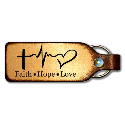 Faith Hope Love Leather Keychain - Love Chirp Gifts