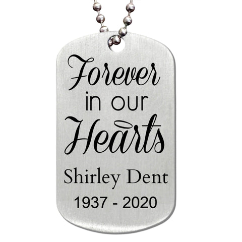 Forever in Our Heart Memorial Stainless Steel Dog Tag Necklace - Love Chirp Gifts