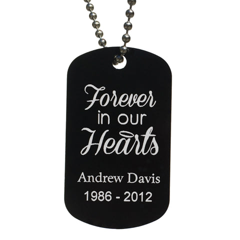 Forever in Our Heart Memorial Dog Tag Necklace - Love Chirp Gifts