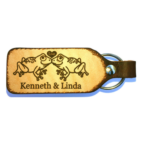 Froggy Love Couples Personalized Leather Engraved Keychain - Love Chirp Gifts