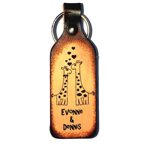Giraffe Couple in Love Leather Keychain - Love Chirp Gifts