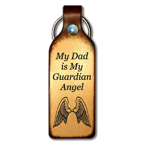 My Dad is My Guardian Angel Leather Keychain - Love Chirp Gifts
